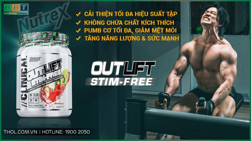 Outlift Stim-Free - Preworkout tăng sức mạnh không chất kích thích
